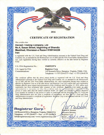 Certificate of FDA Registration
